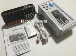Wholesale Usb Sd Card Reader Speakers - L-088 portable hifi mini FM radio speaker MP3 player amplifier micro SD TF USB flash drive AUX LED flashlight 30pcs