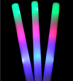 Wholesale Glow Batons - Free shipping 4*48cm multi color 3 led foam stick led foam baton glow stick for wedding party