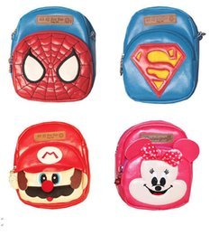 Wholesale Children S Backpacks Baby - free shipping NEW Arrival Gift kids Spider-man super Mario Kitty Bag Baby Cartoon shoulder Bag in PU Bag in Children 's s backpack MOQ:14PCS