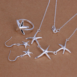 Wholesale Starfish 925 Silver Jewelry - High grade 925 sterling silver Starfish three-piece jewelry set DFMSS175 brand new Factory direct 925 silver necklace earring ring