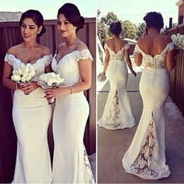 Wholesale Olive Plus Size Prom Dress - Off Shoulder Satin Mermaid Bridesmaid Dresses Appliques Lace Capped Sleeves Backless Wedding Guest Dresses Plus Size Ivory Prom Dresses