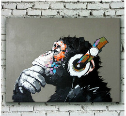 Wholesale Friends Walls - Hand Painted Modern Chimpanzee Animal Oil Painting on Canvas Orangutan Art for Wall Decoration or Best Gifts to Friends