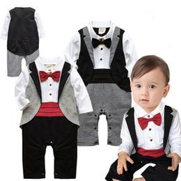 Wholesale Tie Neck Jumpsuit - New Babies Clothes Boy Gentleman Romper Bow Tie Plaid Long Sleeve One Piece Jumpsuits 1-18M 4P L
