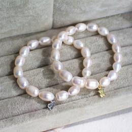 Wholesale Vintage 14k Bangle Bracelet - TL Fashion Stone Beads Bear Bracelets Gold Silver Bear Pendant Vintage Bracelet&Bangle For Women Party Gift