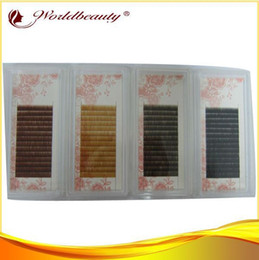 Wholesale Red Brown Eyebrow - Wholesale-Best 4 tray per lot 5mm 6mm 7mm 8mm black, dark brown ,med brown and light brown,red brown silk eyebrow extensions