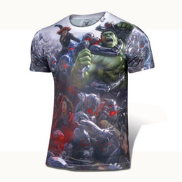 Wholesale Marvel T - Wholesale-NEW 2015 Marvel COMICS Cartoon Super Hero The Avengers Poster American T shirt jersey Men USA camisetas masculinas Clothing 4XL