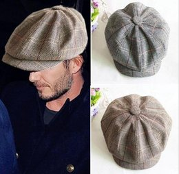 Wholesale Christmas Style Hat For Women - New style newsboy caps for men and women fashion hot Autumn winter warm linen Octagonal cabbie Cap hat Flat Cap for male high quality