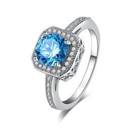 Wholesale Diamond Sapphire Rings - Sapphire jewelry fashion white gold plated wedding Rings for Women CZ diamond Engagement Bague Bijoux accessories MSR154