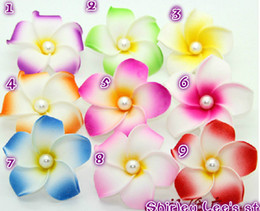 Wholesale Wholesale Foam Plumeria - Wholesale-(50pcs lot) Hawaii Foam Frangipani Flowers Plumeria Frangipani Diy Hair Flowers *Free Shipping*