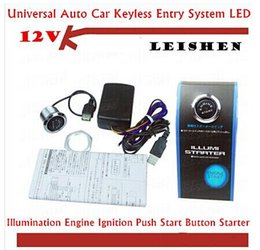 Wholesale Push Starter Switch - SPECIAL OFFER HOT SALE! 12V Car Engine Start Push Button Switch Ignition Starter Kit Blue LED Wholesale & Retail top sale free shipping