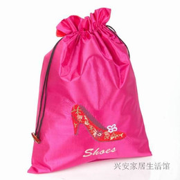 Wholesale Women Travel Shoe Bags - Reusable Large Women boot Shoes Storage Bag Travel Satin Fabric Protective Cover Gift Packing Bags Pouch Wholesale