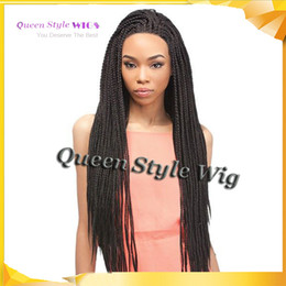 Wholesale Beauty Braids - African American wig Synthetic full Box Braided style wig Beauty Keri Hilson hair full braided lace front wigs for black women