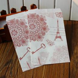 Sacchetti di regalo di carta Torre Eiffel di Parigi con etichette di sigillo - imballaggio, borsa piatta 24pcs / lot da