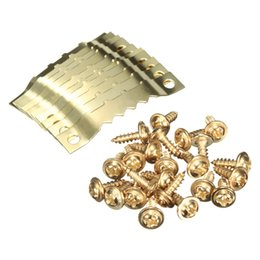Wholesale Food Paint - Wholesale- 10 Pairs Gold Saw Tooth Hangers Hooks + Screws Golden Picture Painting Saw Hooks Hanging For Photo Paingting Picture Frame New