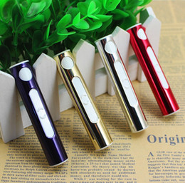Wholesale Cigarette Lighter Mini Usb - Hot sale USB cigarette lighter mini portable windproof electronic lighter silver gold red purple large in stock