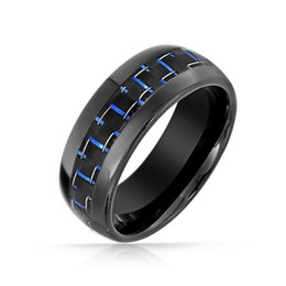 Wholesale Black Inlay Ring - Wholesale-2015 New Fshion Black Tungsten Ring Blue Carbon Inlay Wedding Band anel anillos bague rings for men bague anillo oso aneis