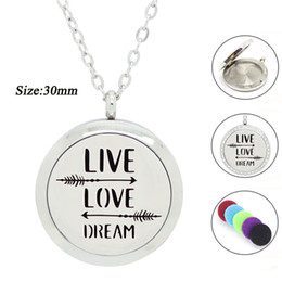Wholesale 316l Chain - 316L Stainless Steel Essential Oil Diffuser Necklace for Women Positive Qoute Perfume Locket with pads Aroma pendant