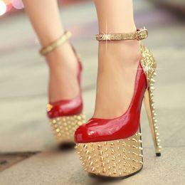 Wholesale Sexy Bling Shoes - 2015 Brand New Women's Sexy Stilettos High Heels Rivet Platform Pumps Fashion Bling Nightclub Shoes Free Shipping