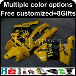 Wholesale Kawasaki Zx6r 97 Green Fairings - 23colors+8Gifts WEST YELLOW motorcycle cowl For Kawasaki ZX-6R 1994-1997 ZX6R 94 95 96 97 ABS Plastic Fairing
