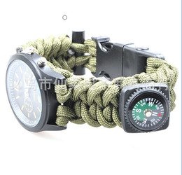 Wholesale Survival Bracelet Whistle Buckles - 10pcs Outdoor 5 in 1 Travel kit Survival Flint Fire starter paracord Compass Watch Whistle Gear Buckle rescue rope Bracelet