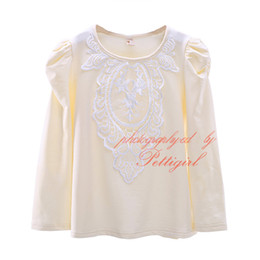 Wholesale T Shirt Decorating - New Spring And Autumn Girls Casual T-shirt Baby Long Sleeve Tops Decorated With Lace Child Wear GT41015-07