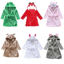 Wholesale Boys Bath Robes - Boys Girls Bath Robe Sleepwear Homewear Pajamas Hooded Flannel Nightwear kids bathrobe bath towel hooded kids Sleepwear KKA3309