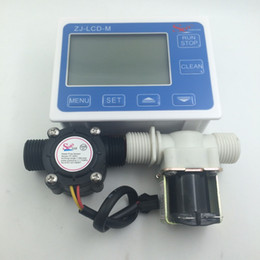 "Wholesale Flow Gauges - Wholesale-New G1 2"" Water Flow Control LCD Display + Solenoid Valve Gauge + Flow Sensor Meter"