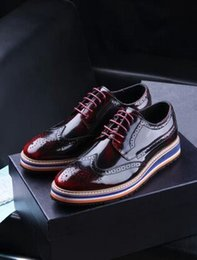 Wholesale Men High Top Dress Shoes - 2016 Hot Sales Top Luxury Brand Men Genuine Leather Business Shoes high quality Men Shoes Fashion party Shoes 3 Colour 38-45