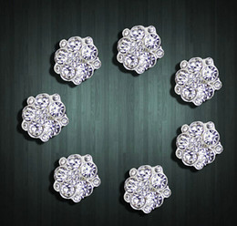 Wholesale Rhinestone Buckles For Invitations - 5%off (30pcs lot)15MM sunflower Crystal Rhinestones Button For Wedding Clear Silver Button buckle invitation Free Shipping