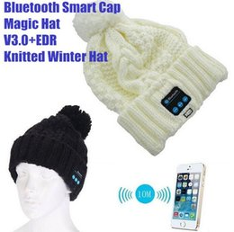 Wholesale Mp3 Skull Music - New Arrival Bluetooth beanie Hat Cap Knitted Winter Magic Hands-free Music mp3 Hat for woman Men Smartphones