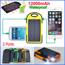 Wholesale External Power Ipad - Weatherproof Dustproof 12000mAh Solar Charger and External Battery Solar Panel Dual USB power bank For Mobile phone S6 5S ipad Tablet PC