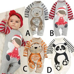 Wholesale Girls Panda Set - 2015 New Baby Romper suit Cotton long sleeve cartoon Panda Cat Pattern rompers boys girls costumes Toddlers bodysuits tights sets