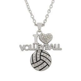 Wholesale Fitness Prices - Fasctory Price 20pcs a lot Rhodium Plated Message I Love Volleyball Pendant Link Chain Sport Fitness Crystal Necklaces