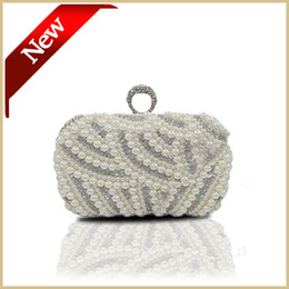 Wholesale Beaded Satin Evening Bag - Hand Bags Pearl Evening Bag Diamond Gold Clutch Gorgeous Bridal Wedding Party Chain Bag Free Shipping