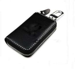 Wholesale Volkswagen Bag - Black Leather Car Key Holder Case Bag Alloy Keychain For VOLKSWAGEN VW