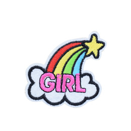 Wholesale Girls Patching Dress - 10PCS Funny Rainbow Patches for Clothing Bags Iron on Transfer Applique Patch for Girls Dress DIY Sew on Embroidery Badge