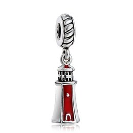 Wholesale Lighthouse Charms - Awesome Enamel Lighthouse Pendant European Charms Fit For 925 Sterling Silver Snake Chain Bracelet DIY Jewelry
