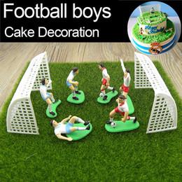 Wholesale Artificial Cake Decoration - Football Boys Miniature Figurine Spoart Team Cake Decoration Mini Fairy Garden Party Action Figures Home Ornaments Gift Tns069