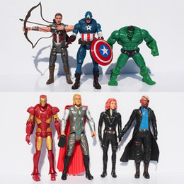 Wholesale Iron Man American Hero - The Avengers Super Heroes Movie Action Figures Toy 15cm Captain American Iron Man Hulk Thor Black Widow Hawkeye Nick Fury PVC Toys 7pcs set