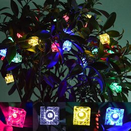 Wholesale Light Cube Led Battery - Wholesale- 4.2M 40LED Ice Cube Light Christmas LED String Lights Fairy Bulb Garland Birthday Party Garden Wedding Curtain Decor ALI