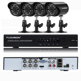 Wholesale Hdmi Security Dvr - FLOUREON CCTV KIT Security System 4CH Full 960H ONVIF HDMI DVR + 4 X Outdoor 900TVL IR-CUT Camera 4CH CCTV System Kit UK Stock