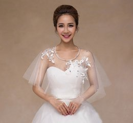 Wholesale Hand Made Shawl - 2016 New Style Spring Summer Bolero Jackets for Evening Dresses Hand Made Flowers Beading Wedding Accessories Bridal Accessories Cheap