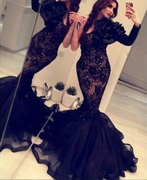Wholesale Single Sleeve Illusion Prom - 2016 Mermaid Prom Dresses Black Single Long Lace 2015 Evening Gowns Arabic Vestido De Novia Formal Occasion Gowns Zip Back Floor Length