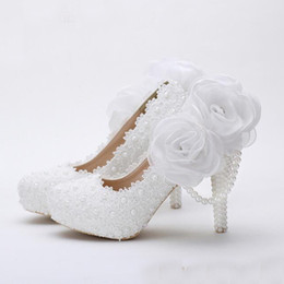 Wholesale Birthday Dress Women - White Flower Lace Platform Bridal Shoes Beautiful Women High Heels Handmade Lace Wedding Dress Shoes Girl Birthday Party Pumps