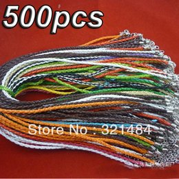 Wholesale Braided Cord Necklaces For Charms - Wholesale Fashion Necklace!!! 500pcs Mixed Braid Twist FAUX Leather Cord Necklace For Europe&America Charm Jewelry