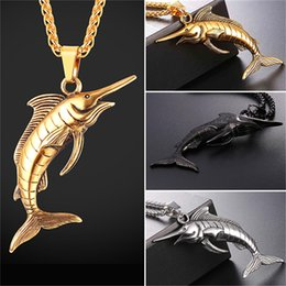 Wholesale Fish Party Plates - U7 Jewelry Fish Pendant Necklace With Swordfish Shape Stainless Steel Gold Black Gun Plated Steampunk Jewelry Dinosaur Necklace GP2593