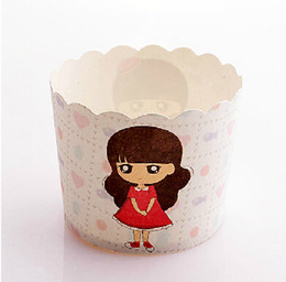 Wholesale Baby Girl Cupcake Wrappers - Little Girl series 100pcs lot High temperature baking greaseproof paper muffin cupcake liners wrappers for Baby Shower