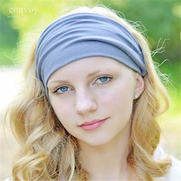 Wholesale Headband Ladies - New Womens Solid Elastic Wide Stretch Summer Beach Sport Headbands for Yoga Biker Adult Lady Headband 18 colors Cotton Turban Bandana WHA65