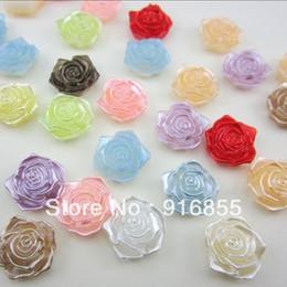 Wholesale Pearl Rose Flatback - Free Shipping 100Pcs lot 18mm Imitation Pearls Multicolor Half Round Flatback Rose Flower Beads DIY Wedding Decoration