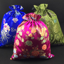 Wholesale Silk Gift Pouches Large - Luxury Jacquard Chinese Silk brocade Drawstring Bags Shoe Dust Travel Storage Pouch Reusable Extra Large Gift Bag Wedding Party Birthday